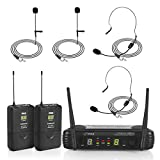 PYLE-PRO 2 Channel Wireless Microphone System-Portable UHF Digital Audio Mic Set with 2 Headset, 2 Lavalier lapel, 2, Transmitter, ¼'' cable, power adapter-For Karaoke, PA, DJ, (PDWM3400)