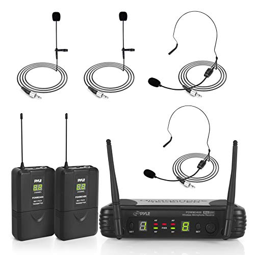 Pyle 2 Channel Wireless Microphone System - Portable UHF Digital Audio Mic Set with 2 Headset, 2 Lavalier lapel, 2 Transmitter, ¼'' cable, power adapter - For Karaoke, PA, DJ, - PDWM3400