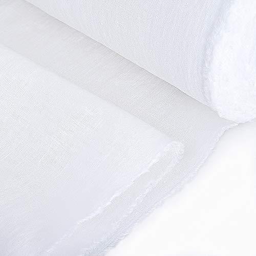 EcoconLINEN Atelier - Tela de lino para coser por metro - Tejido de bordado de lino suave - Lino natural lavado a piedra (blanco óptico, 3 m (1,4 m de ancho)