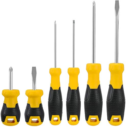 Screwdriver Set Magnetic 6 PCS, Newegger Screwdriver 3 Phillips and 3 Flat Head Tips Screwdriver for Home Repair, Automotive, Factory and More.