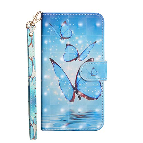 for Moto G9 Plus Case, 3D Painting Shock-Absorption Flip PU Leather Notebook Wallet Phone Cases Folio Magnetic Protective Cover TPU Bumper for Moto G9 Plus with Stand Card Holder Slots Blue butterfly