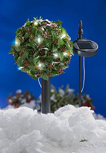 BURI LED Solar-Bäumchen Ilex Stechpalme Gartenbeleuchtung Weihnachtsdeko Kunstpflanze