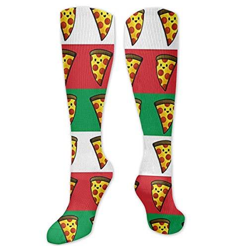 Calcetines de poliéster y algodón por encima de la rodilla, retro, unisex, para muslo, para cosplay, botas, calcetines largos de tubo para deportes, gimnasio, yoga, bandera italiana, pizza