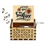 VZF Caja de música de Madera, You Are My Sunshine Caja de música de manivela Vintage Tallada Antigua Caja Musical clásica Creativa Esposas Amigas, cumpleaños/Navidad/día de San Valentín