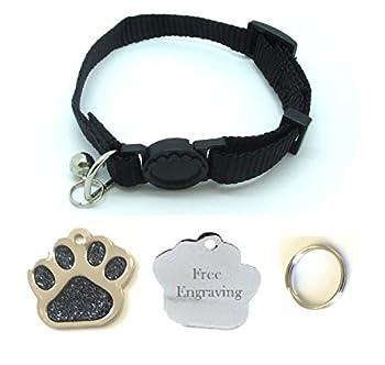 Collier pour chat - Avec clochette - Libération rapide - Avec une plaque d'identification à graver en forme de patte à paillettes - Personnalisable
