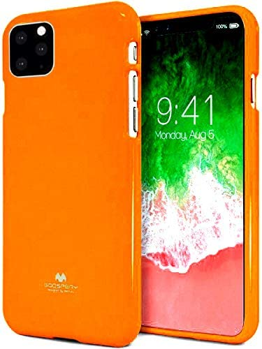 Mooya Jelly Series [Thin Slim] Phone Case [Flexible] Pearl Glitter Jelly [Drop Protection] Reinforced TPU Case [Lightweight] Bumper Cover for(iPhone 11,Neon Orange