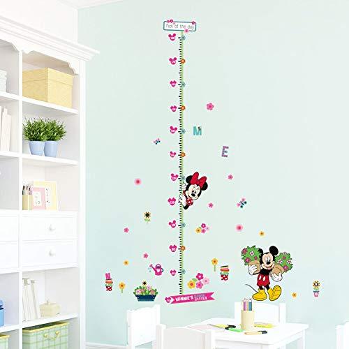 BLOUR Minnie Mickey Crescita Grafico Adesivi murali per la Decorazione della Camera dei Bambini Arte murale dei Cartoni Animati casa Decalcomanie Misura Regalo Altezza Bambini