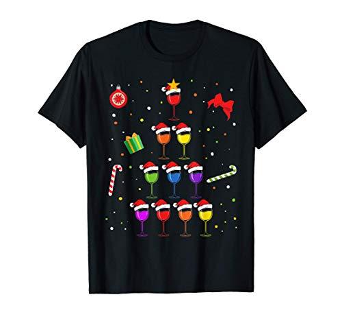 Vino tinto Vino de Navidad Árbol de Navidad Vino de Navidad Camiseta