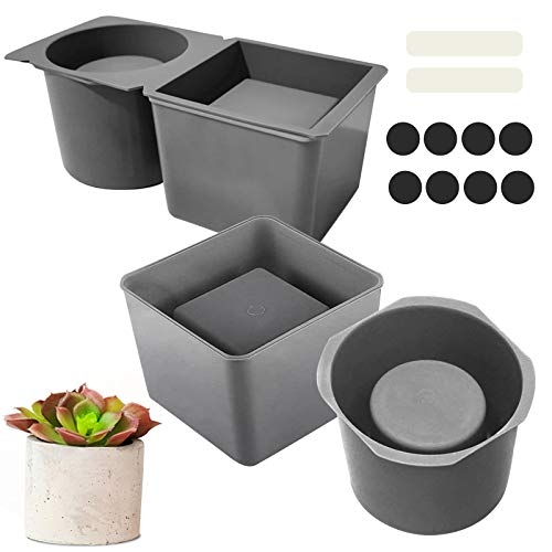 2 Pack Silicone Planter Mold, Concrete Molds and Forms DIY Succulent Plant Concrete Model for Plants Square and Round Shape