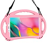 Kids Case for Samsung Galaxy Tab A 8.0 2019 SM-T290/295, TopEsct Premium Silicone Shockproof Light Weight Protective Handle Stand Case for Galaxy Tab A 8.0 (Pink-2019)