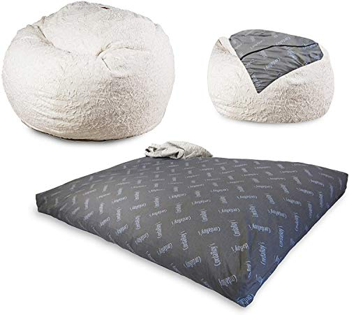 CordaRoy's Faux Fur Bean Bag Chair, Convertible Chair Folds from Bean Bag to Bed, As Seen on Shark Tank, White - Queen Size