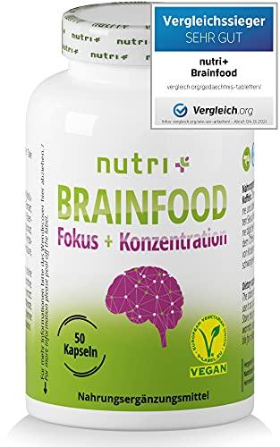 Konzentration Kapseln - Brain Booster - Gehirn Fokus Leistung - Lernhilfe Tabletten hochdosiert - Enhancer mit Koffein, Cholin, Ginseng - Nutri-Plus Brainfood - vegan
