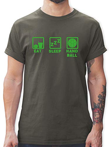 Handball - Eat Sleep Handball grün - S - Dunkelgrau - Handball - L190 - Tshirt Herren und Männer T-Shirts