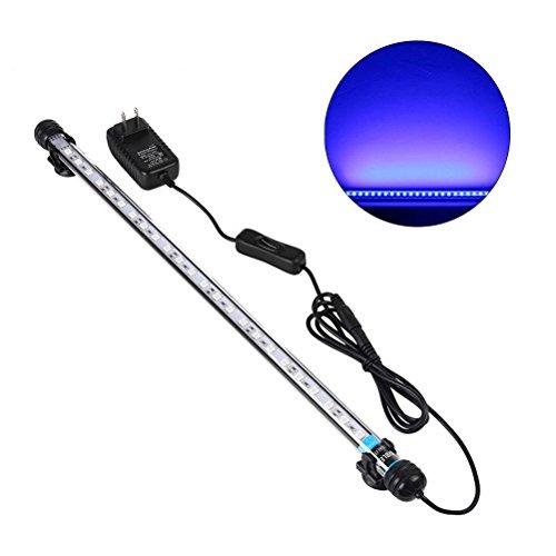 UEETEK 48CM Lámpara LED para Acuario, iluminación de Tanque de Pescado 5050 SMD RGB Barra de luz subacuática Sumergible Impermeable Clip lámpara - Azul (Europe Standard Plug)