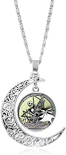 quanjiafu Necklace Necklace The Nightmare Before Christmas Jack and Sally Photo Glass Cabochon Necklace Silver Crescent Moon Pendant Necklace for Women Gift Necklace Necklace