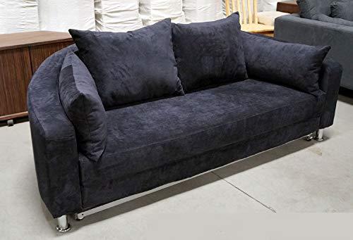 Modern Black Microfiber Round Sleep Sofa Bed B098BK