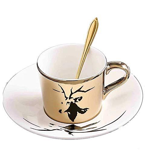 HRDZ Creative animal reflection ceramic coffee cup electroplating mirror cup plate afternoon tea cup set coffee mug
