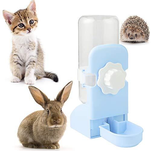 LeerKing Kaninchentränke Kleintiertränke Kein Tropfbecher Automatische Wasserspeicherung Trinkflasche für Hasen Kaninchen Ratten Hamster Meerschweinchen Nager Kleintiere 500 ML Blau