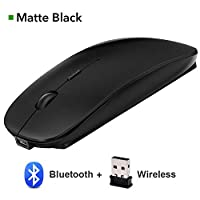 ワイヤレスマウスサイレントUSB / Bluetoothマウス4.0コンピューターマウス充電式内蔵バッテリーマウス人間工学に基づいた、Bluetoothブラック