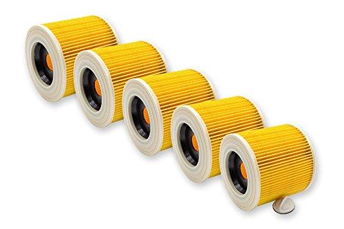 vhbw 5x Filtros de cartucho para aspiradora de humedo Kärcher A 1000, A 1001, A 2111, A 2131 pt, A 2201, A 2234 pt, A 2901 reemplaza 6.414-552.0.