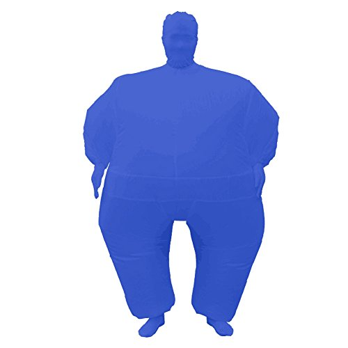 Adult Inflatable Full Body Jumpsuit Cosplay Costume Halloween Funny Fancy Dress Blow Up Party Toy, Blue, Adult size
