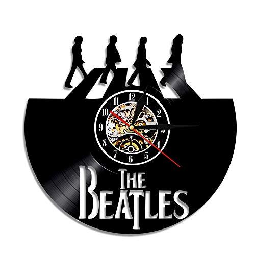 BFMBCHDJ Singer Beatles Schallplattenuhr Retro Nostalgic Home Decoration Wand Wanduhr A20 Mit LED 12 Zoll