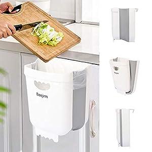 Cubo de basura plegable para cocina, pequeño plegable plegable de plástico de basura para puerta de gabinete dormitorio coche (blanco)