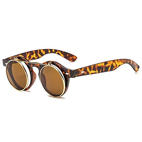 Gafas de Sol Retro de Doble Capa Flip Ronda Tendencia Punk Steam Gafas de Sol 137 * 138mm Escamas de té con Entramado de Leopardo