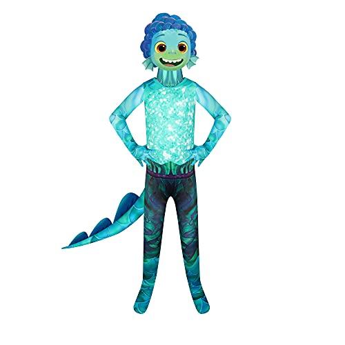 BERHANGO Luca Sea Monster Déguisement Costume Enfant 3-12 ans pour Enfants Garçons Filles Kit Déguisement Costume Combinaison avec Queue Masque pour Anniversaire Halloween Soirée Toussaint Noël