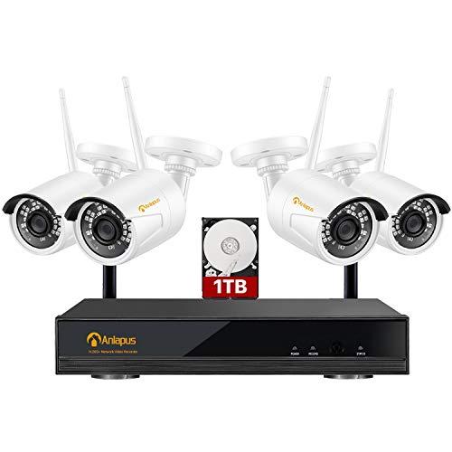 Anlapus 1080P Kit de Cámaras de Vigilancia WiFi 8CH H.265+ Grabador NVR Inalámbrico con 4 Cámara de Seguridad IP Exterior, 1TB Disco Duro, Visión Nocturna, Detección de Movimiento,P2P