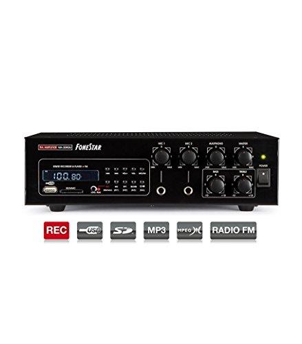 30RGU Fonestar Verstärker MA-30W-100V RMS / 8-Ohm 12VDC / 230VAC USB / SD / MP3 / REC / FM