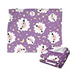 Sinlley Purple Star Moon Lamb Sheep Throw Blanket Throw Warm Cozy Fuzzy Blankets Ultra-Soft Micro Fleece Blankets for Bed Couch Living Room for Adults Kids 60x50 Inch