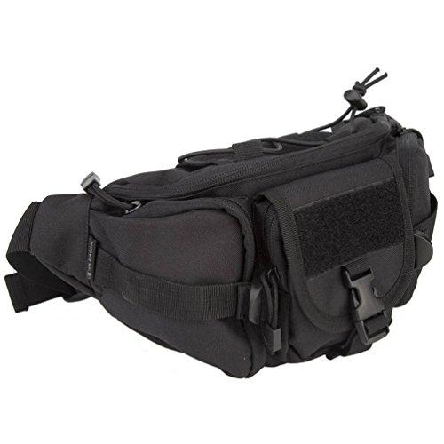 OLEADER Taktische Taille Pack Military Fanny Packs Hüftgürtel Tasche Beutel Werkzeug Organizer für Outdoor Wandern Klettern Angeln Jagd Bum Bag (schwarz)