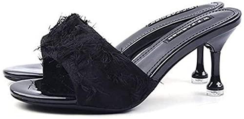 Zapatillas de Verano Mujer Zapatos de Boda Abrir Zapatos de Novia Zapatillas de Mujer Tacones Altos Zapatos Elegantes Sandals-Black_38 I Excelente