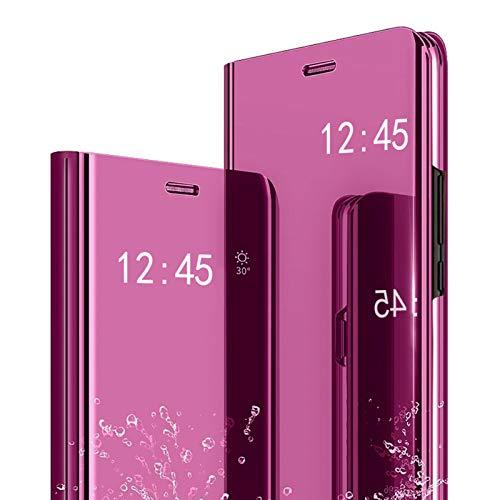 Caler Case Compatible con Samsung Galaxy S7 Edge Funda Cuero PU Espejo Brillante Clear View Modelo Fecha Duro Cover Flip Tapa Libro Soporte Plegable Ventana de Espejo Transparente Carcasa(Rosa Rojo)