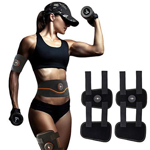 Muskeltrainer Elektrisch, ABS Stimulator Bauchtraining USB-wiederaufladbarer tragbarer EMS Trainingsgerät Bauch- / Arm- / Bein-Fitness Trainings Gang(2 Oberschenkel + 2 Wirte)