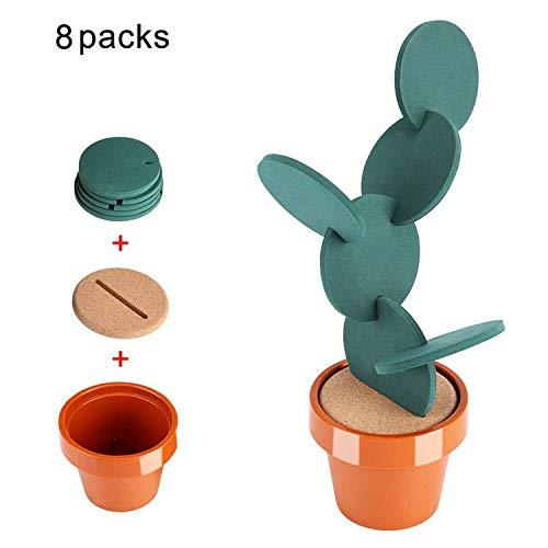 Fdit - Untersetzer-Set aus Vinyl, einzeln oder zusammengesteckt als Kaktusdesign im Blumentopf, 6 Stück, Dekoartikel für Küche/Tisch/Bar