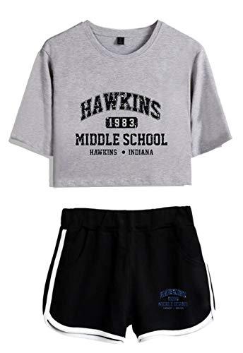 SIMYJOY Frauen Vintage Pop Crop Top Coole Hawkins Middle School Street Fashion T-Shirts und Shorts Anzug Old School 1980er Jahre Kleidung Set für Mädchen und Frauen grau&schwarz M