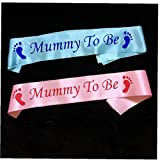 TOSSPER 1pc Huella Mamá a Ser Sash Partido De La Ducha Recién Nacido Bebé De Guillotina para Niños De Cumpleaños De Guillotina Mamá Decoración Bienvenido Regalos Rosados