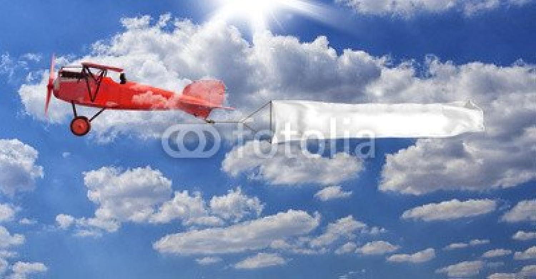Canvas image 60 x 30 cm   biplano red con striscione , image on a Canvas