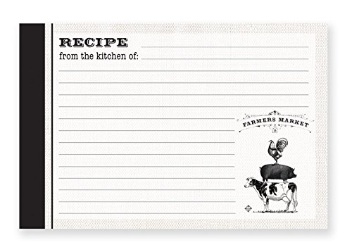 """Brownlow Gifts 4"""" x 6"""" Lined Recipe Cards, Farmers Market, 36-Count"""