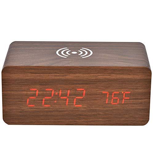 Mugast Bluetooth luidspreker, LED spiegelklok draadloze luidsprekertelefoon QI opladen met 3-groepen wekker en geluidscontrolefunctie, bruin houtrood licht