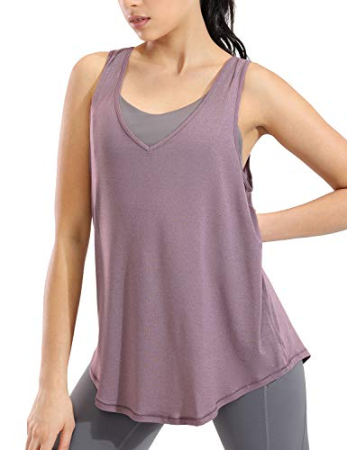 CRZ YOGA Mujer V Neck T-Shirt Camiseta sin Mangas de Entrenamiento Fitness Camisolas Brezo púrpura 36