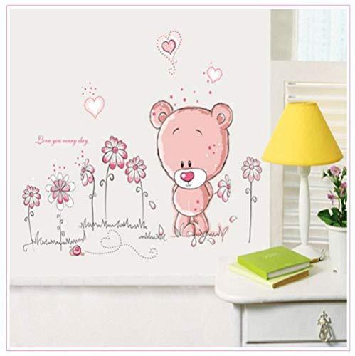 STPillow Muursticker-schattige roze cartoon dier liefde beer bloem baby kinderslaapkamer decor sticker meisjes geschenk