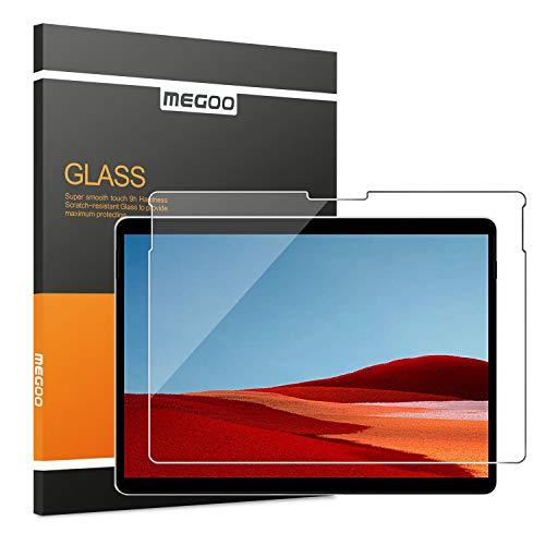 MEGOO Microsoft Surface Pro X Schutzfolie gehärtetes Glas, Einfache Installation/ 9H Festigkeit/Klar Anti-Kratz Panzerfolie Bildschirmfolie für Microsoft Surface Pro X 13 Zoll (1876 Model)