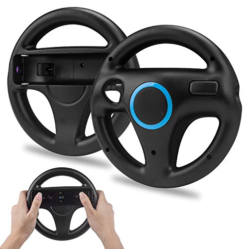 2 * Volant pour Wii,TechKen Manette de Volant de Course Roue Wii Jeux de Course Wii Steering Wheel Mario Kart Racing Volant en Plastique Accessoire de Jeu pour Contrôleur de Wii