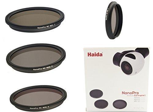 Neutral Graufilterset Nano Pro MC Optical von HAIDA für Quadrocopter DJI Inspire 1 / Osmo X3 / Zenmuse X3 - Bestehend aus 3 Filtern ND 0.6 / ND 0.9 und ND 1.2 50% -