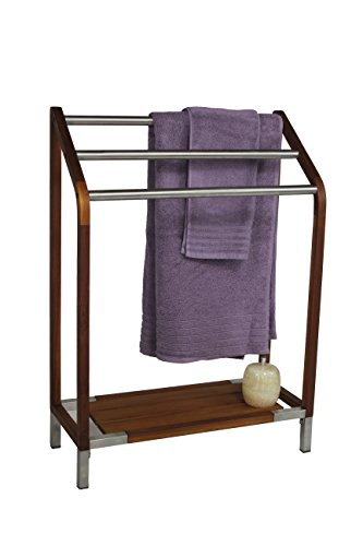 Sula Teak & Stainless Steel Stand Alone Towel Rack