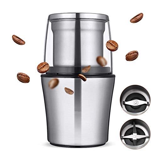 L&WB 200W Moulin à café électrique en Acier Inoxydable Corps Grande capacité pour Moulin à Poivre de sel Machine de broyage de Haricots puissants