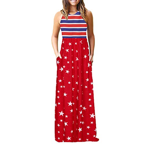Tootu Sexy Damen-Kleid, ärmellos, lang, Maxi, lässig - Mehrfarbig - Mittel